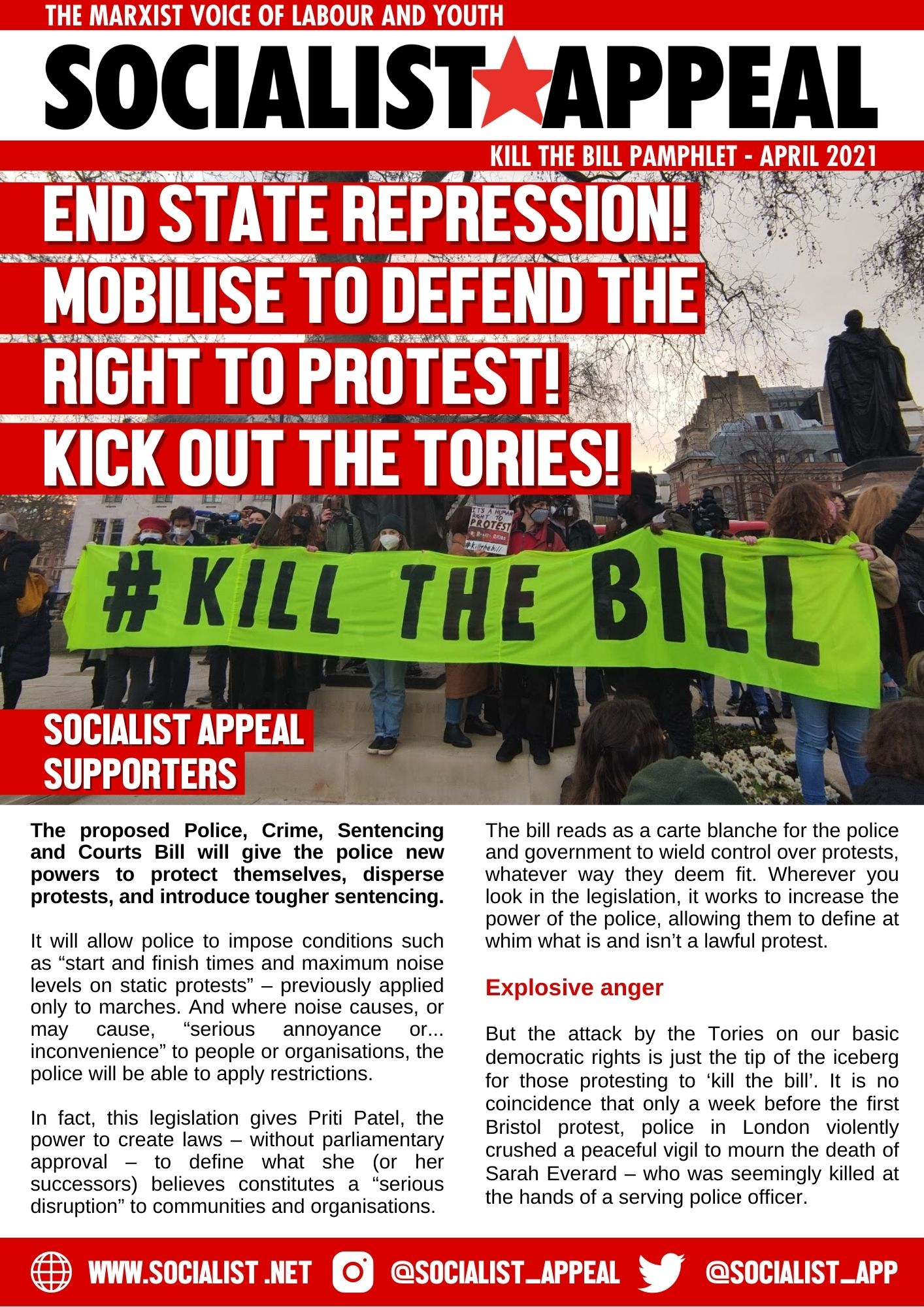 Kill The Bill Leaflet April