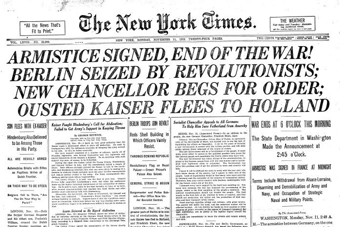EndOfWWI NYTimes Page1 11 11 1918